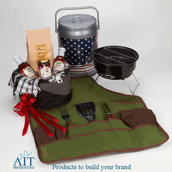 Portable BBQ grill, green chefs apron with pockets, BBQ utensils, collapsible nylon container, and small round cooler