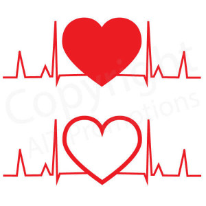 EKG and Solid/Outlined Hearts